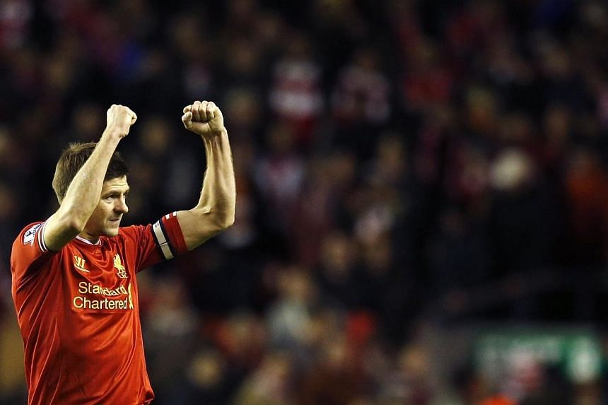 Liverpool's Steven Gerrard acknowledges fans after their match against Sunderland at Anfield on March 26, 2014. -- FILE PHOTO: REUTERS