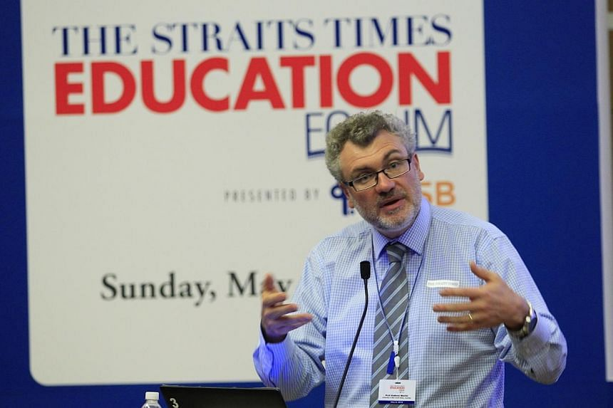 Professor Andrew Martin, who specialises in educational psychology at the University of New South Wales in Australia, speaks at the inaugural Straits Times Education Forum on May 4, 2014. -- ST PHOTO: CHEW SENG KIM