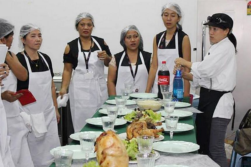 Self-improvement for foreign domestic helpers: An international culinary course at the ACMI Training Centre (left); a computer course (centre) and a hairdressing course (right) at the Mujahidin Mosque.