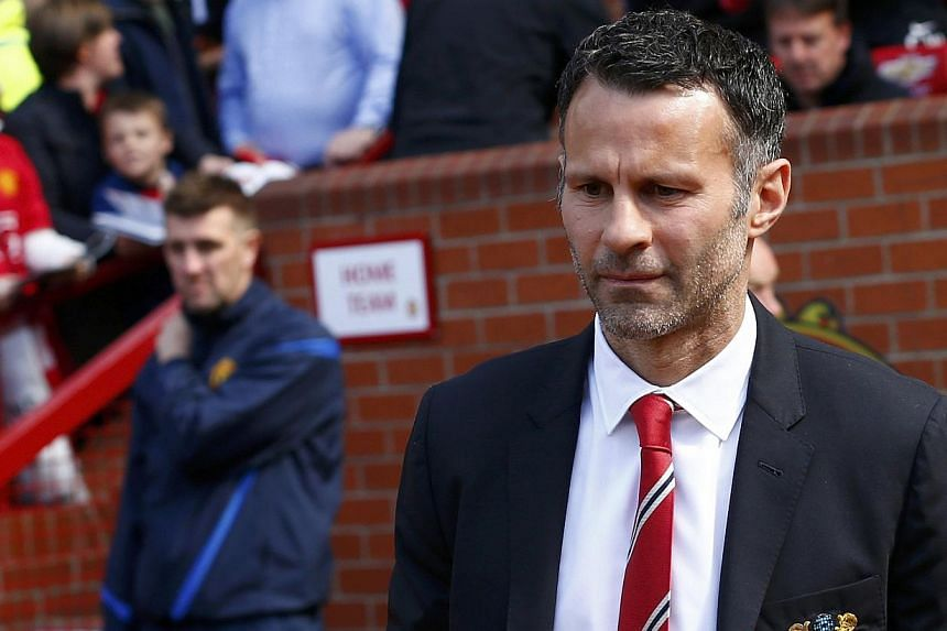 Manchester United caretaker player manager Ryan Giggs reacts during his side's English Premier League soccer match against Sunderland at Old Trafford in Manchester, on May 3, 2014. -- PHOTO: REUTERS