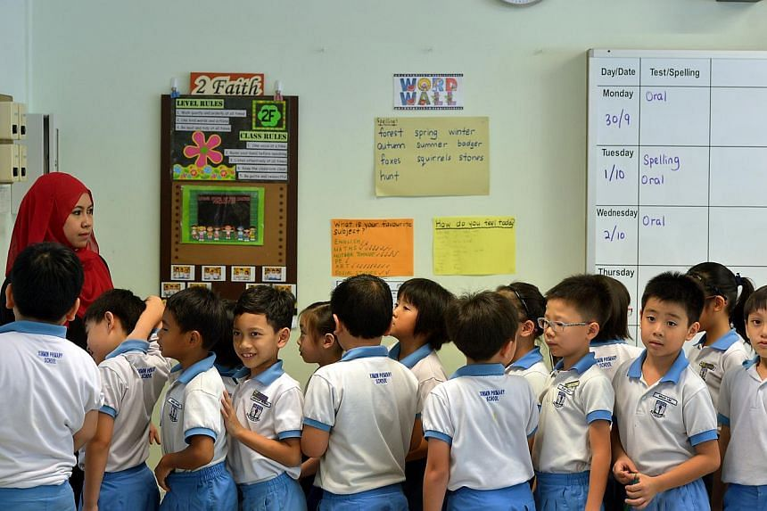 Lower primary school students at Xinmin Primary School. -- ST FILE PHOTO: KUA CHEE SIONG