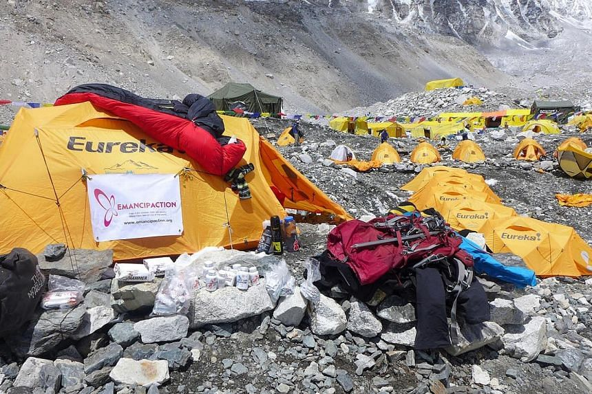Tent at Everest Base Camp, which has a spectacular view of the Khumbu Icefall.  -- PHOTO: BROOKS ENTWISTLE