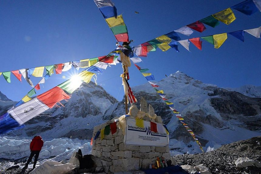 A sunrise shot looking over the ice fall from the Everest Base Camp.-- PHOTO: THOM POLLARD