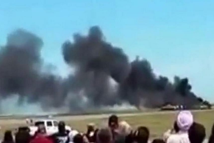An airplane crashed during an air show at Travis Air Force Base in California on Sunday, forcing a shutdown of the show, a spokesman for the base said.-- PHOTO: SCREEN CAPTURE FROM VIDEO