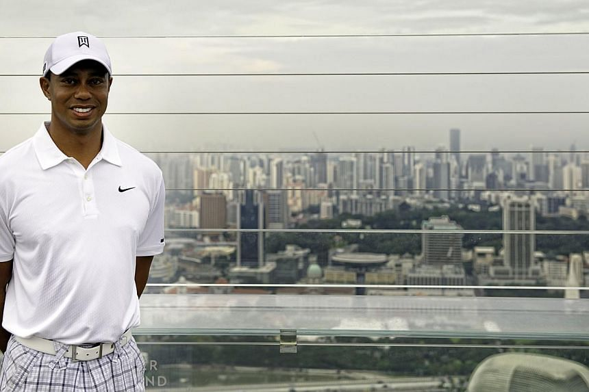 File photo of american golfer Tiger Woods at the Marina Bay Sands (MBS) SkyPark Observation Deck in 2011. - PHOTO: SPH