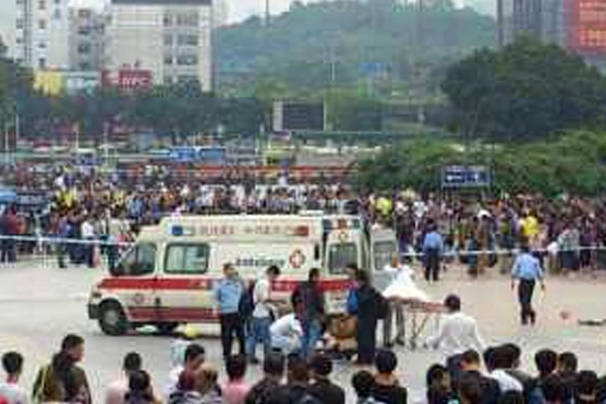 Six people have been injured by two knife-wielding men outside Guangzhou railway station, local police and media reported. -- PHOTO: WEIBO