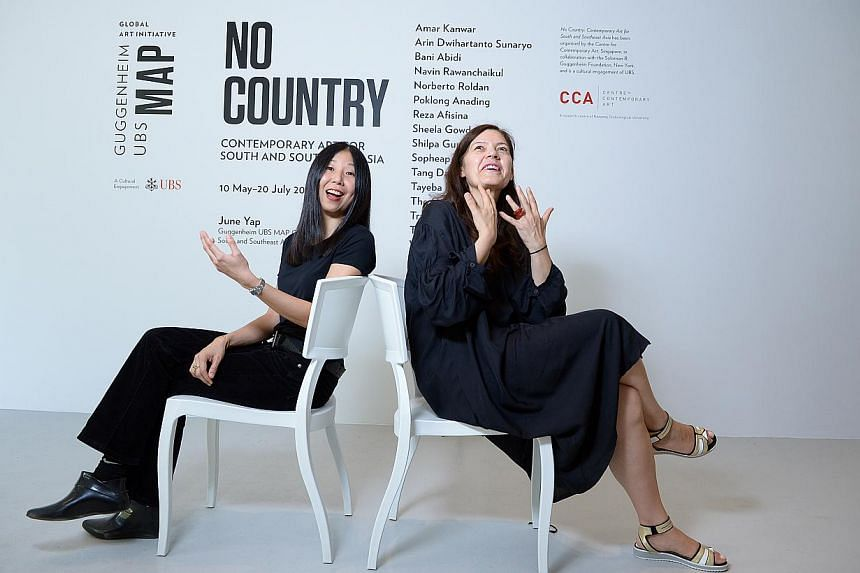 Curator June Yap (left) and Centre for Contemporary Arts director Ute Meta Bauer will reach out to the public through No Country: Contemporary Art For South And South-east Asia. -- ST PHOTO: DESMOND WEE