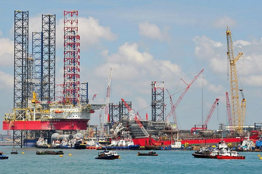An oil rig at SembCorp Marine PPL shipyard, off the coast near Pandan Industrial Estate.SembCorp Industries lifted earnings in the first quarter by 4.5 per cent, thanks to better performances from its three main business units. -- ST FILE PHOTO