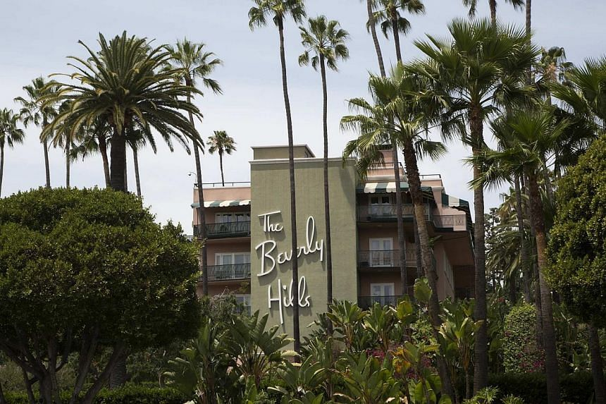 The Beverly Hills Hotel, which is owned by the Sultan of Brunei, is seen during a protest over Brunei's strict sharia law penal code in Beverly Hills, California on May 5, 2014. The city of Beverly Hills will vote on Tuesday on whether to pressu