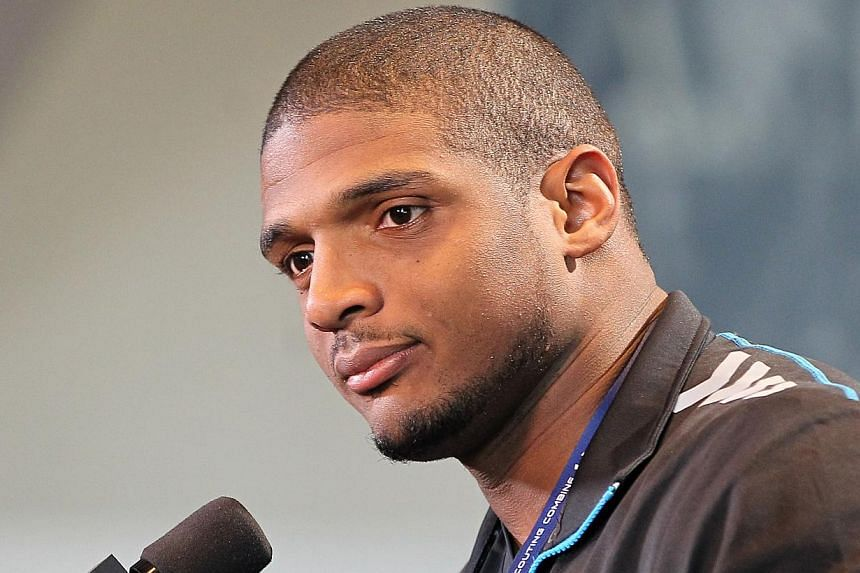 Missouri Tigers defensive end Michael Sam speaks at the NFL Combine at Lucas Oil Stadium on Feb 22, 2014. Michael Sam, a collegiate standout who revealed his homosexuality last February, is expected to be chosen in this week's NFL Draft and coul