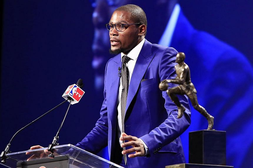 On May 6, 2014; Oklahoma City, OK, USA; Oklahoma City Thunder forward Kevin Durant speaks after receiving the 2013-2014 MVP trophy at Thunder Events Center. -- PHOTO: REUTERS
