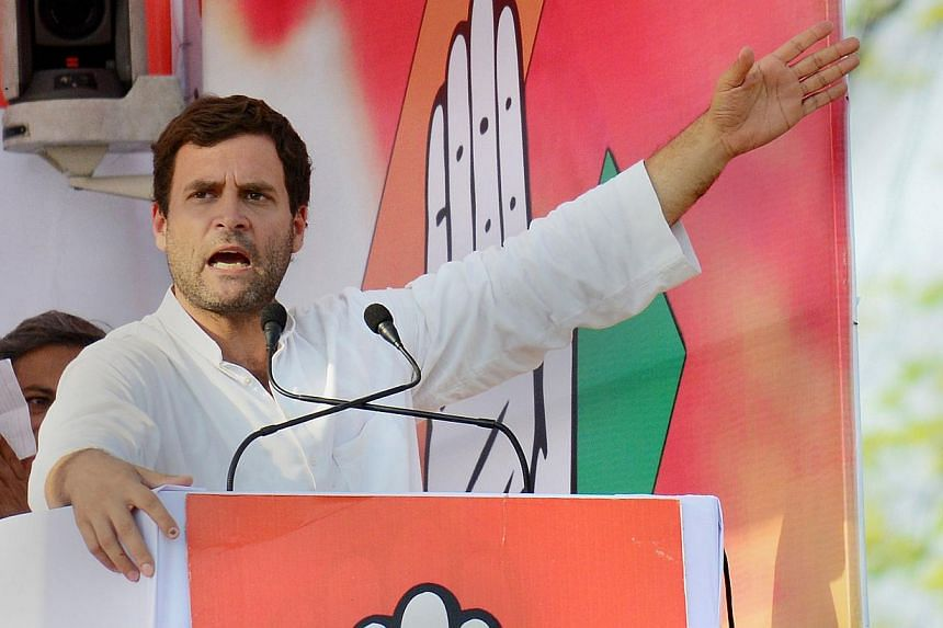 Indian Congress Vice President Rahul Gandhi addresses an election rally in Allahabad on May 5, 2014. Rahul Gandhi, scion of India's political dynasty and frontman for the ruling Congress party, defends his own parliamentary seat on Wednesday a