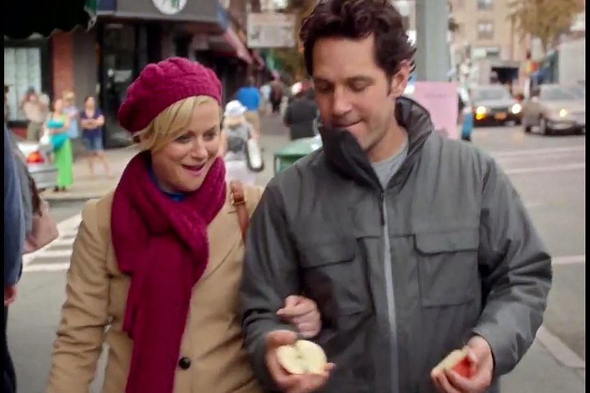 It means that Paul Rudd throws a football right into the face of Amy Poehler (both above).