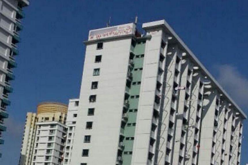 Graffiti sprayed at Block 85A Toa Payoh Lorong 4. -- PHOTO: STOMP