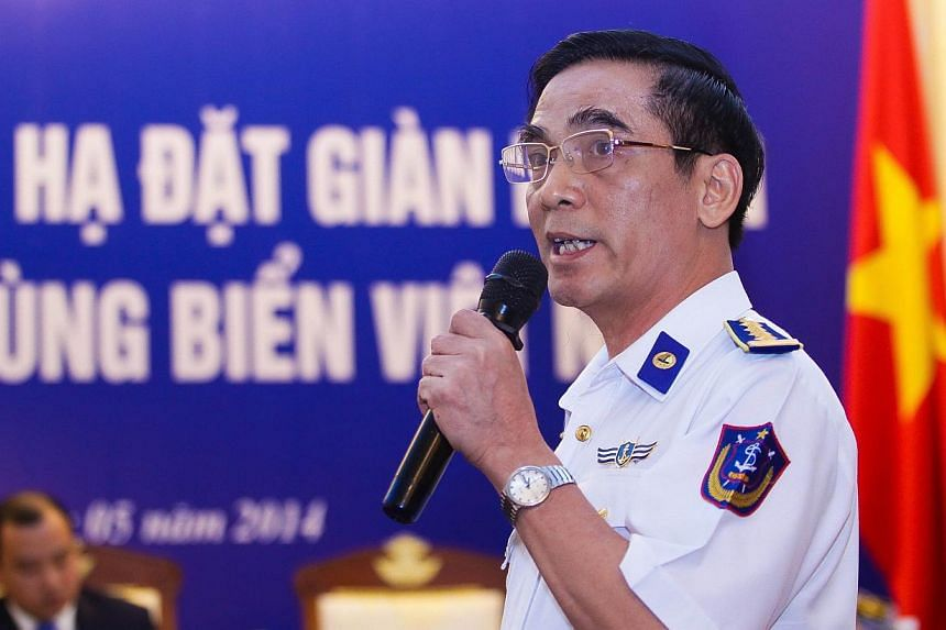 Vietnam Maritime Police's Deputy Commander Do Ngoc Thu speaks during a press conference on the latest maritime tension between Vietnam and China in Hanoi on May 7, 2014. Hanoi said that Chinese ships protecting a deep-water drilling rig in disputed w