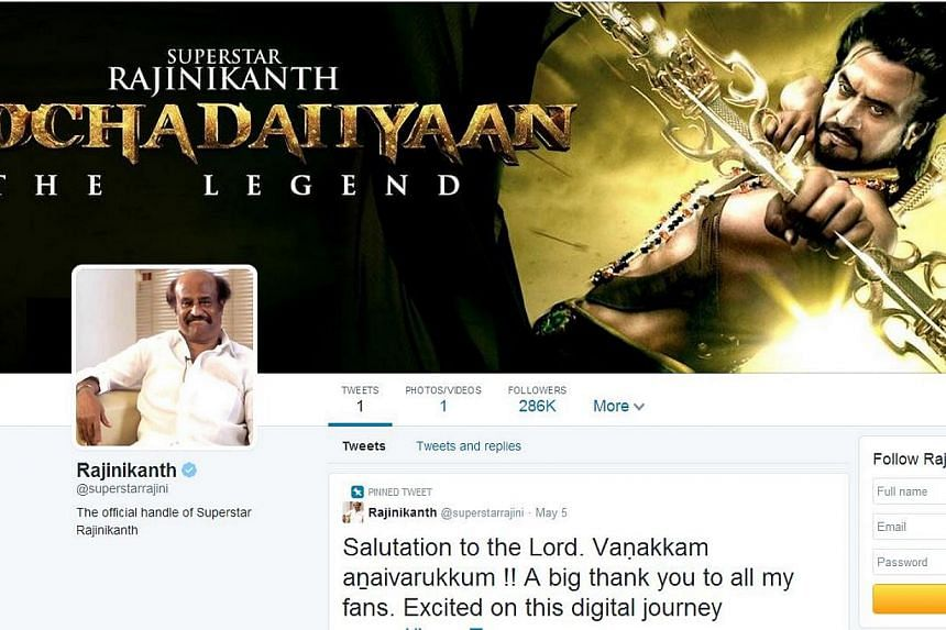 Indian film superstar Rajinikanth surprised India's social media community by getting tens of thousands of followers before he had even said anything on Twitter. -- PHOTO: TWITTER/RAJINIKANTH