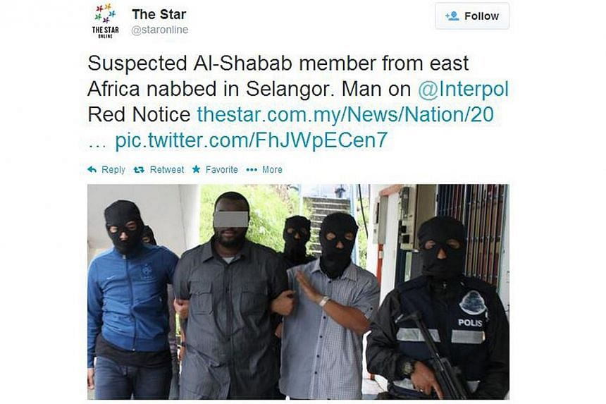 A 34-year-old east African man, wanted by Interpol for alleged terror links, was detained by the Bukit Aman special branch counter-terrorism unit in Selangor on Thursday. -- PHOTO: SCREENSHOT FROM THE STAR ONLINE