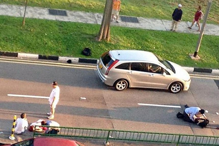 Ngee Ann Polytechnic student Tien Kang Fan (left), 18, was one of two pedestrians and a lorry involved in an accident along Sin Ming Avenue (right) on Monday morning.