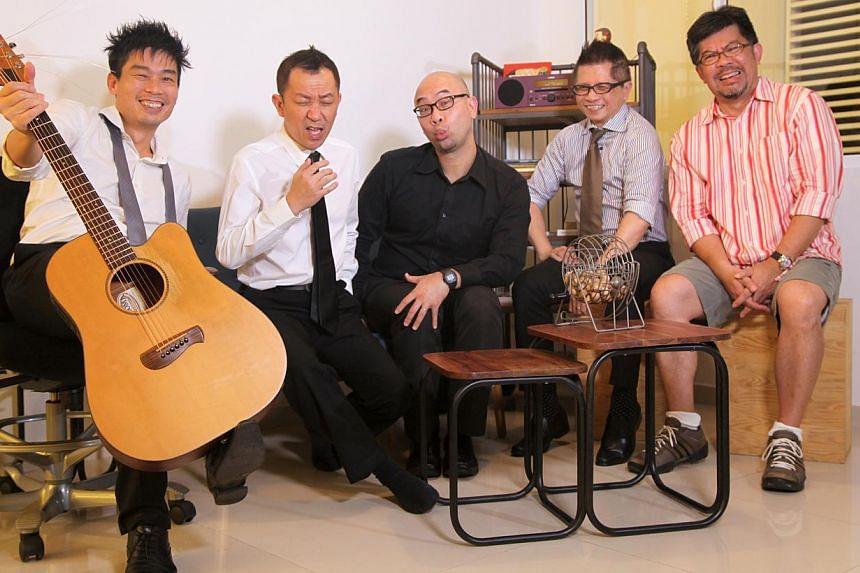 Members of Budak Pantai are (from right) Danny Lai , Michael Loh, Gordon Ng, Joseph Wong and Ho Kah Keh. -- PHOTO: 19SIXTYFIVE
