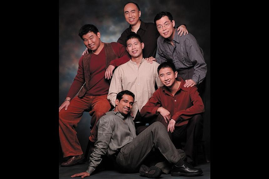 In-A-Chord comprise Jason Ong (centre) and (clockwise from top) Patrick Wong, Vaughan Tan, Dominic Teo, Cecil Wilson and Chua Kim Beng. -- PHOTO: ESPLANADE