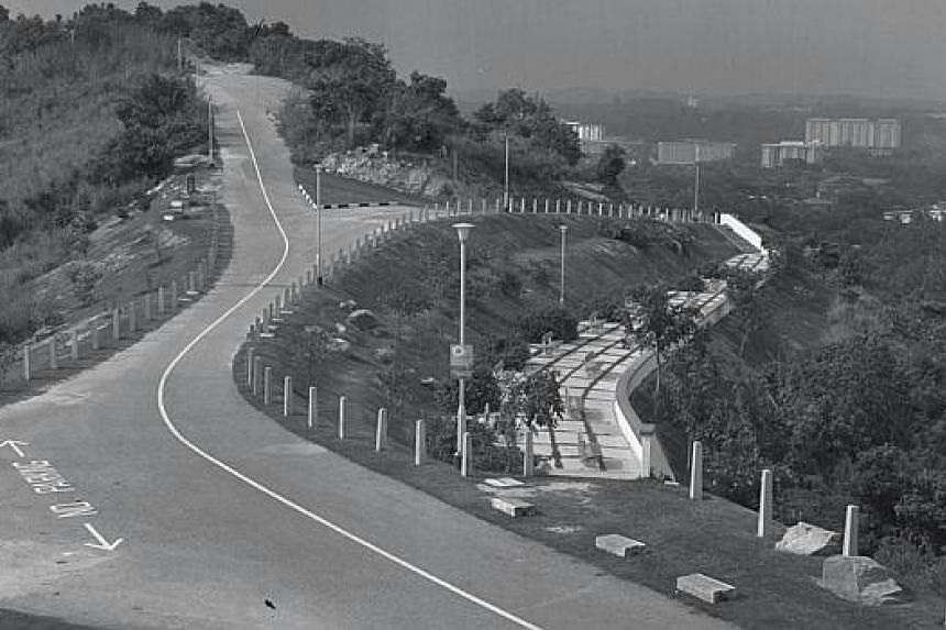 This 1969 photograph shows the first development at Mount Faber, a then-new hill road. -- ST FILE PHOTO