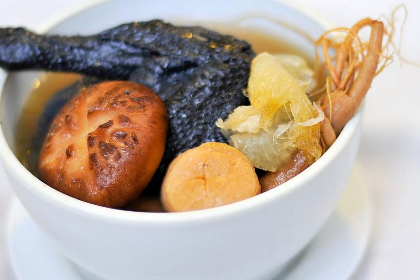Black chicken with ginseng and conpoy from Gu Ma Jia. -- PHOTO:GU MA JIA PRIVATE KITCHEN