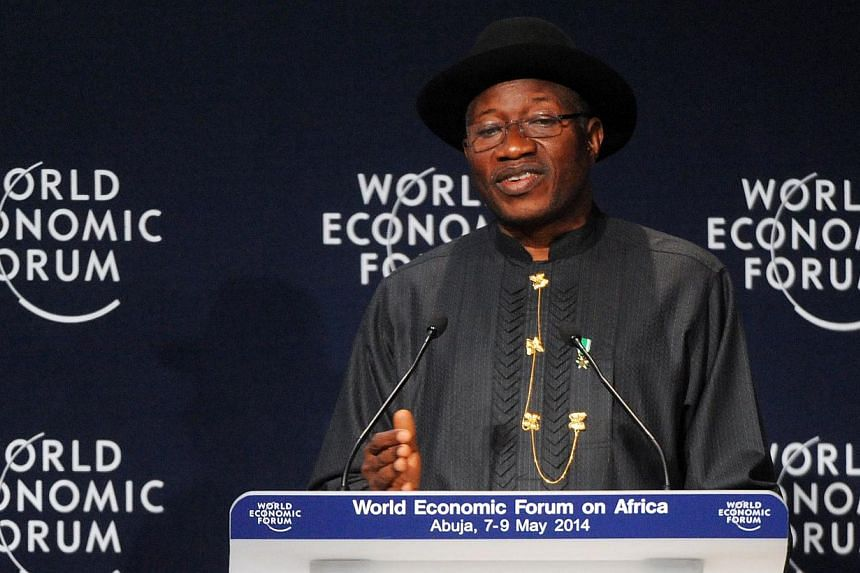 Nigerian President Goodluck Jonathan speaks at the opening session at the World Economic Forum in Abuja on May 8, 2014. MrJonathan pledged on Thursday to find more than 200 schoolgirls abducted by Islamist rebels, saying their rescue would mark