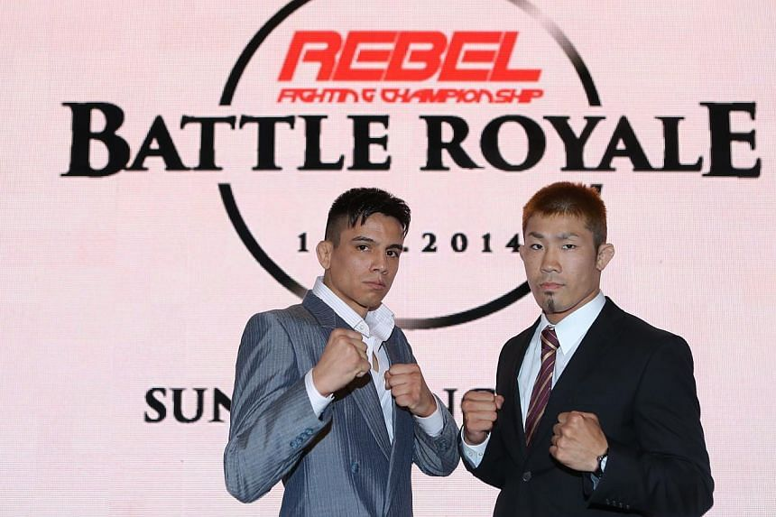 Mexican-American mixed martial arts (MMA) veteran Miguel Torres (left) has been drawn to face Japanese Takahiro Ashida in Rebel FC 2: Battle Royale, which will be held on Aug 1 at Suntec Singapore Convention and Exhibition Centre.-- ST PHOTO:&n