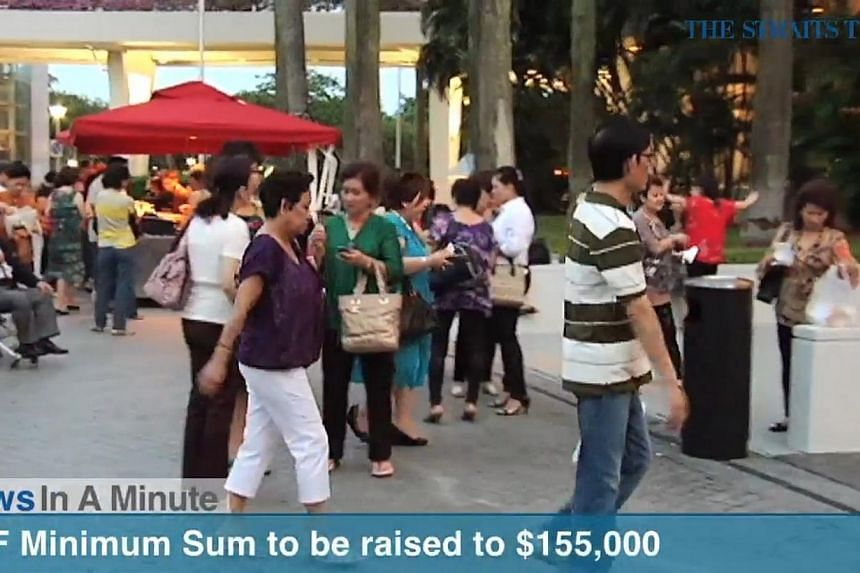The Minimum CPF Sum will be raised to $155,000 for Singaporeans who turn 55 between July 1 this year and June 30 next year. -- PHOTO:  SCREEN CAPTURE FROM VIDEO