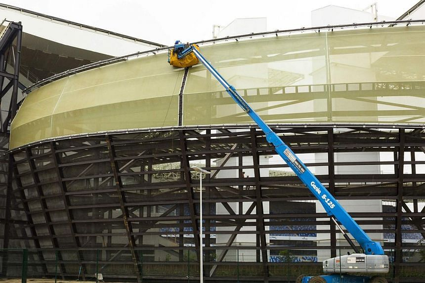 Construction is pictured ongoing at the Arena Pantanal soccer stadium in Cuiaba on April 23, 2014. A worker died on Thursday at a World Cup stadium in Brazil after he was electrocuted, an official source told AFP, the eighth fatality during chao