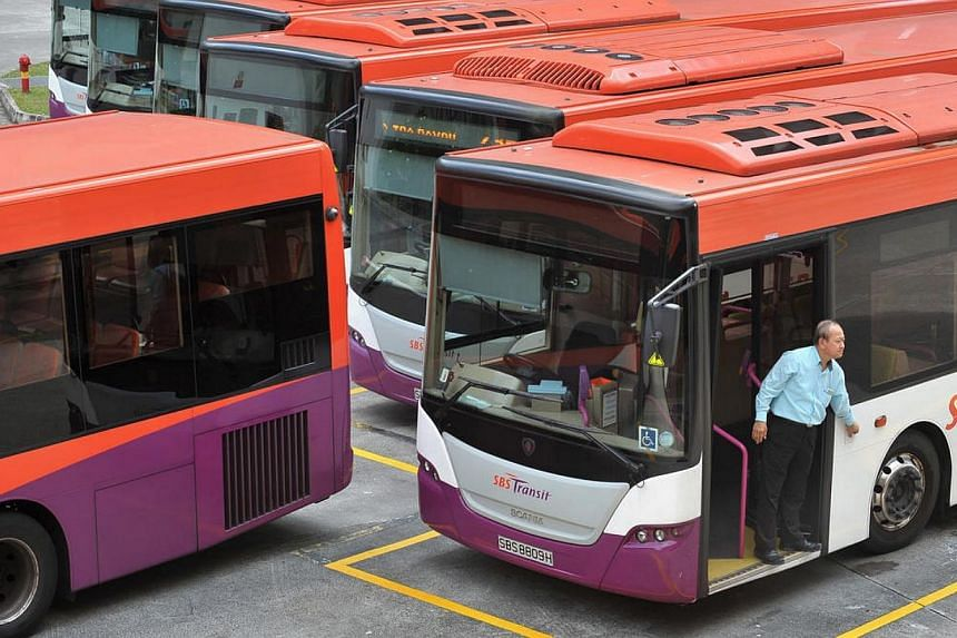 SBS Transit buses at the Toa Payoh bus interchange. SBS Transit made losses in both bus and rail operations but still managed to post a 16.8 per cent rise in first quarter net profit to $3.3 million, thanks to tax credit recognised. -- ST PHOTO: