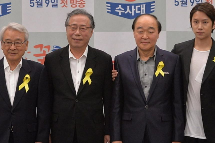 The cast of Flower Grandpa Investigators, (from left) Lee Soon Jae, Byun Hee Bong, Jang Gwangand Kim Hee Chul, attend the drama's press conference in Seoul on May 7, 2014. -- PHOTO: THE KOREA HERALD