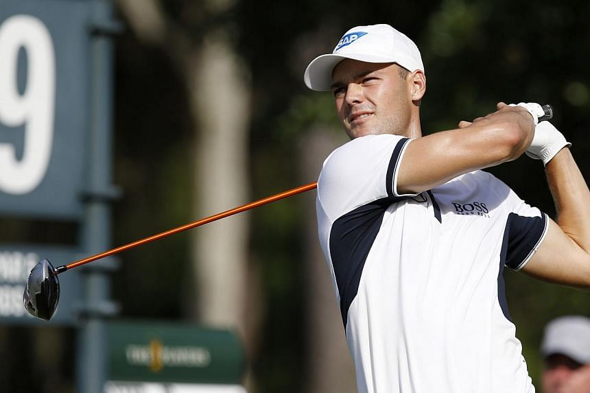 Germany's Martin Kaymer birdied his last four holes to complete a record-tying nine-under par 63 opening round and seize a two-shot clubhouse lead Thursday at the US PGA Players Championship. -- PHOTO: REUTERS