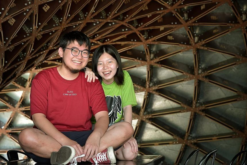 Pie cafe co-owner Sean Gwee and Ms Porndee Chua, who has a degree in natural sciences from Cambridge University, are among SUTD's latest batch of 332 undergraduates.