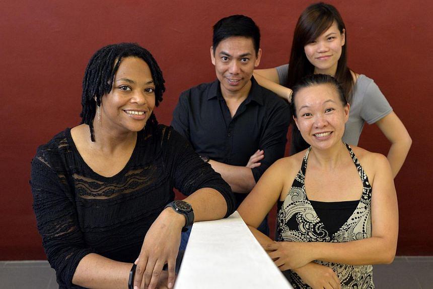 Urban Harmony members (from left) Stacey Douglas, Earl Lazo, Yee Peixiu and Angelina Choo will perform with Tine Fris. The other members are Malaysia's Zalina Lee and Indonesia's Hekko Wickasono. -- ST PHOTO: DESMOND FOO