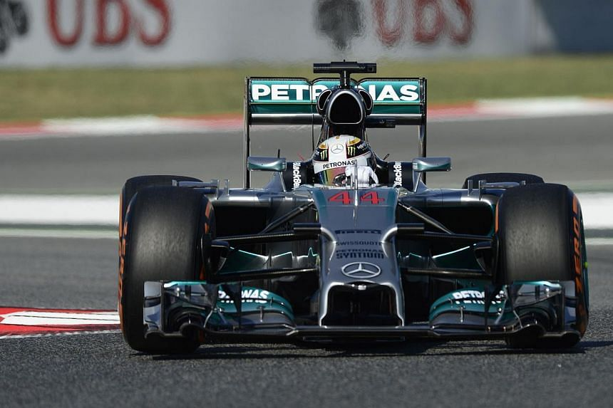 Mercedes-AMG's British driver Lewis Hamilton drives during the first practice session at the Circuit de Catalunya, in Montmelo, on the outskirts of Barcelona on May 9, 2014, ahead of the Spanish Formula One Grand Prix. Hamilton set the pace for domin