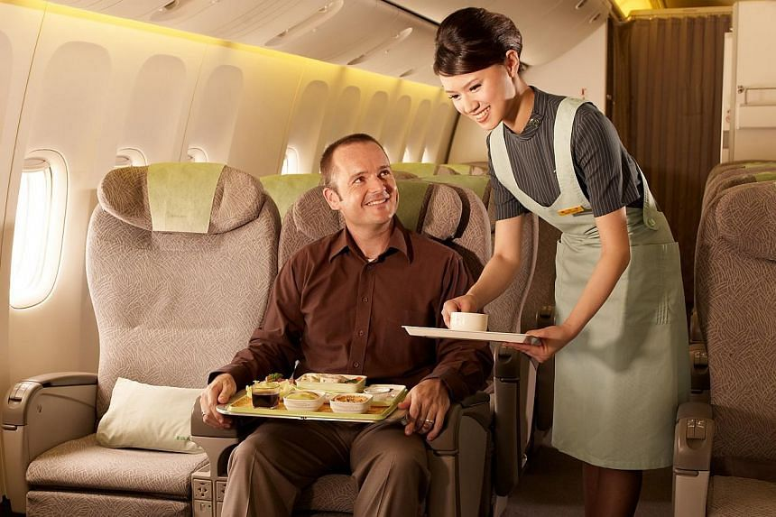 EVA Air introduced the premium economy class in 1992, which offers more leg room and increased baggage allowance for passengers.-- FILE PHOTO:EVA AIR