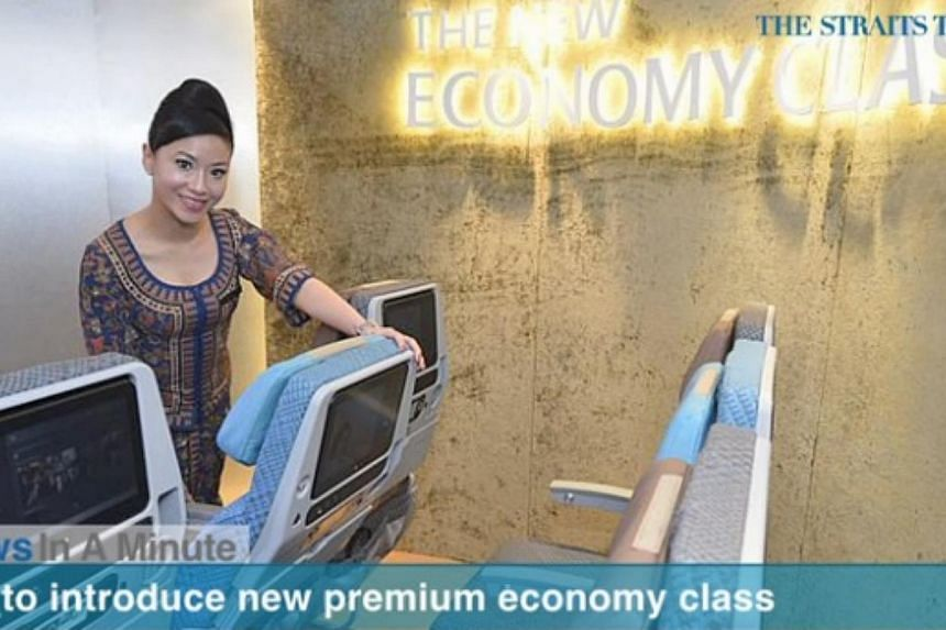 Singapore Airlines will launch a premium economy class on its flights progressively from the second half of next year.-- PHOTO: SCREEN CAPTURE FROM VIDEO