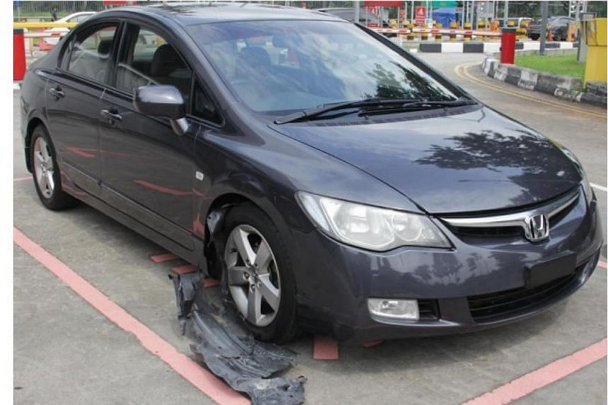 The vehicle related to the seizure of more than 2kg of controlled drugs at Woodlands Checkpoint on Friday morning. -- PHOTO: IMMIGRATION & CHECKPOINTS AUTHORITY/ CENTRAL NARCOTICS BUREAU