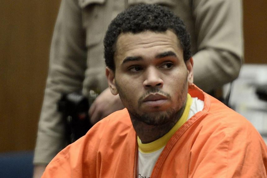 Chris Brown appears in court for a hearing at the Criminal Courts in Los Angeles May 9, 2014. -- PHOTO: REUTERS