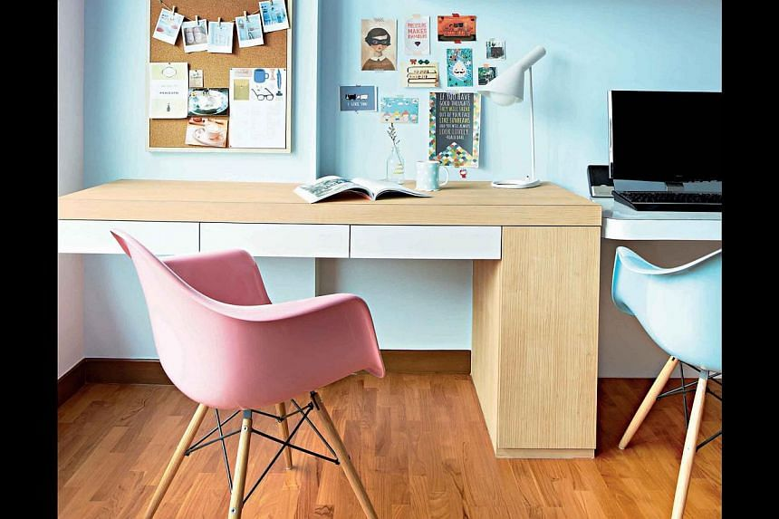 Experiment with different laminate surfaces to give old tables a fresh update.