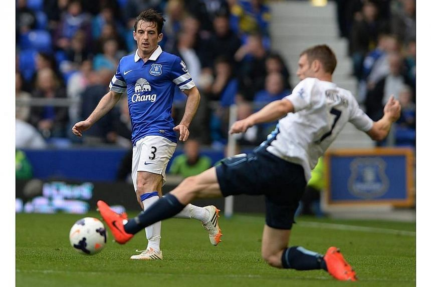 Everton's Leighton Baines (left) in action with Manchester City's James Milner (right) during the English Premier League soccer match between Everton and Manchester City at the Goodison Park, Liverpool, Britain on May 3, 2014.Fifth-placed Evert