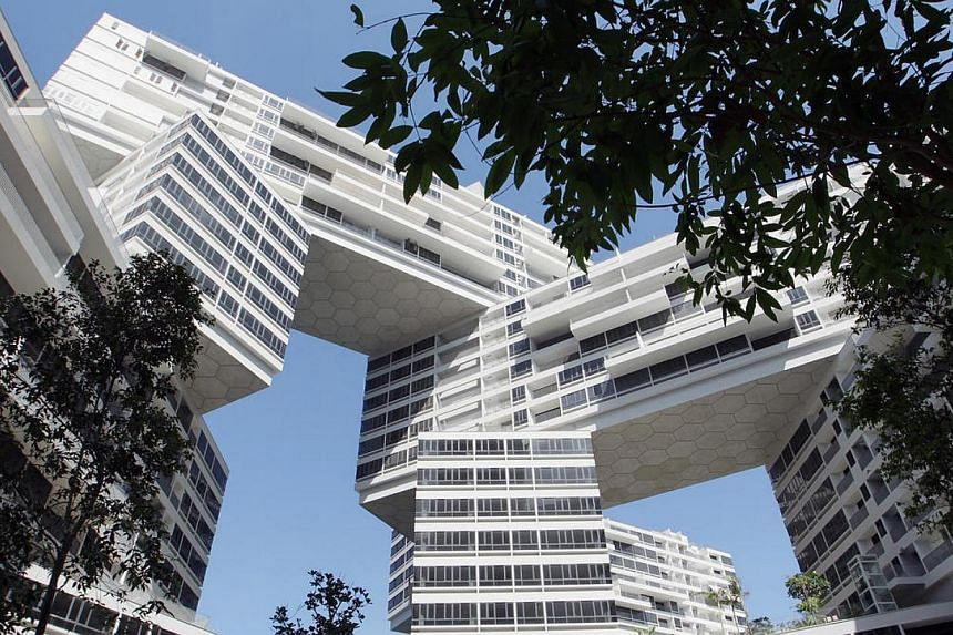 CapitaLand condominium The Interlace was one of two projects which achieved a Universal Design Mark Platinum - the highest possible award - at this year's BCA Universal Design Awards. -- ST PHOTO: NEO XIAOBIN