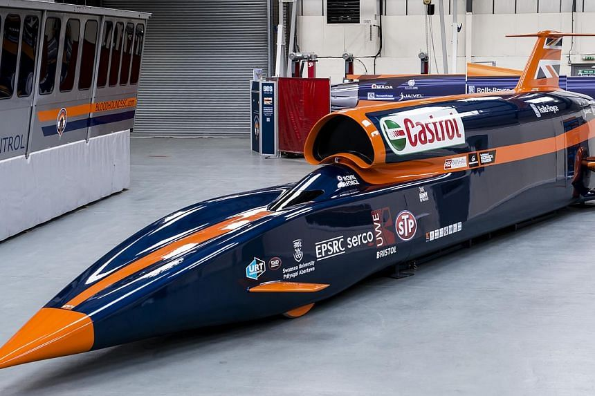 The Bloodhound Supersonic Car (above) is designed to go at 1,000 miles per hour, or about 1,600kmh, and set a new world land speed record, driven by current record holder Andy Green. --PHOTO: ROLEX