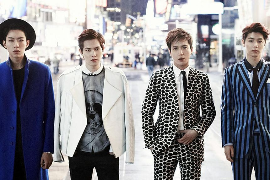 South Korean pop rock band CNBlue (from left) bassist Lee Jung Shin, guitarist Lee Jong Hyun, frontman Jung Yong Hwa, and drummer Kang Min Hyuk. -- FILE PHOTO: ROCK RECORDS