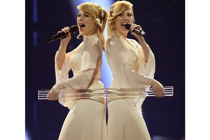 The Tolmachevy Sisters representing Russia performs during Grand Final of the 59th annual Eurovision Song Contest (ESC) at the B&W Hallerne in Copenhagen, Denmark, on May 10, 2014. -- PHOTO: EPA