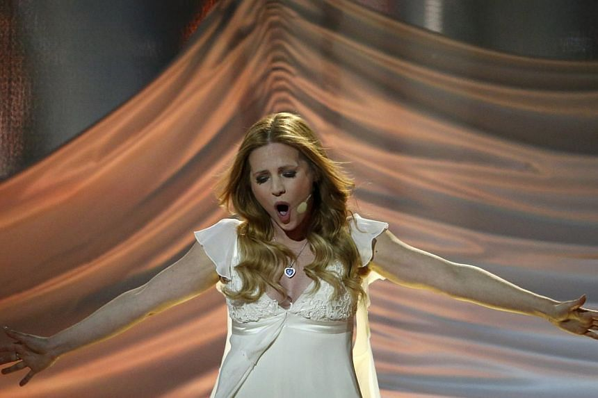 Singer Valentina Monetta representing San Marino performs the song Maybe (Forse) during the grand final of the 59th Eurovision Song Contest at the B&W Hallerne in Copenhagen on May 10, 2014. -- PHOTO: REUTERS