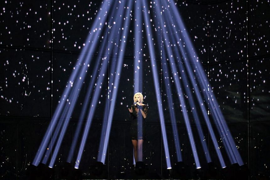 Sanna Nielsen representing Sweden performs during Grand Final of the 59th annual Eurovision Song Contest (ESC) at the B&W Hallerne in Copenhagen, Denmark, on May 10, 2014. -- PHOTO: EPA