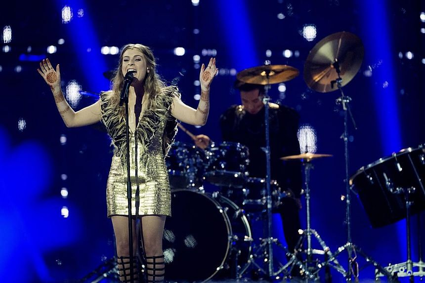 Molly representing the United Kingdom performs during the 59th annual Eurovision Song Contest (ESC) at the B&W Hallerne in Copenhagen, Denmark, on May 10, 2014. -- PHOTO: EPA