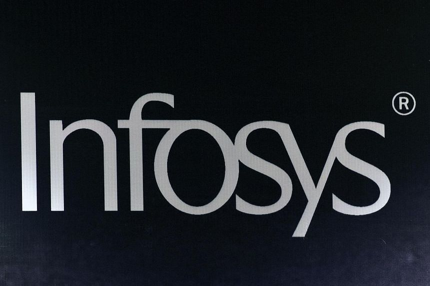 In this photograph taken on April 16, 2013, the Infosys company logo is pictured during the Innovation Showcase exhibition on the sidelines of the Fourth Clean Energy Ministerial in New Delhi. Infosys staff are leaving at an unprecedented pace as the
